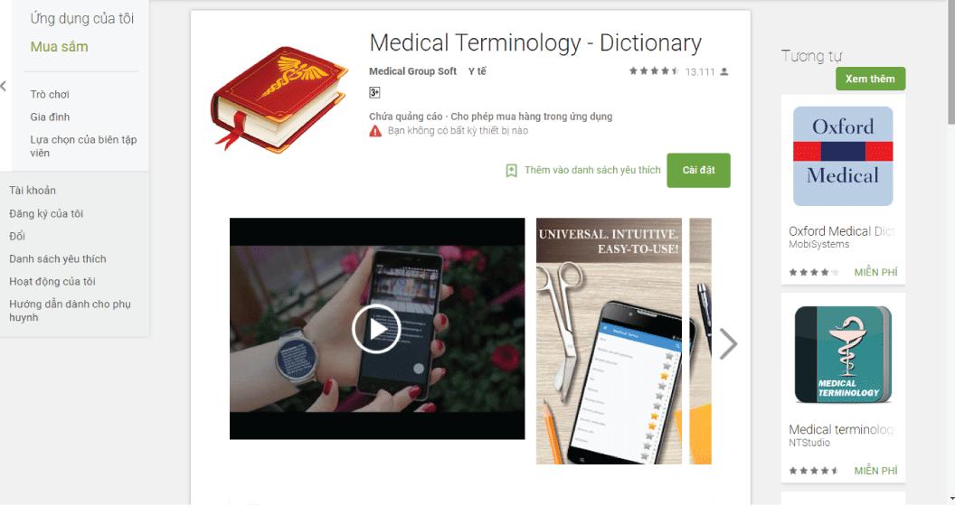 Ứng dụng tra từ điển tiếng Anh - Medical Terminology - Dictionary