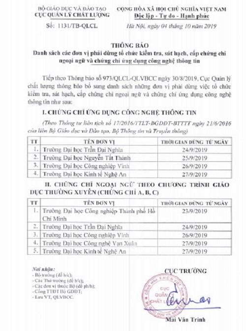 Bo Gddt Yeu Cau 6 Truong Dh Dung Cap Chung Chi Ngoai Ngu Va Tin Hoc