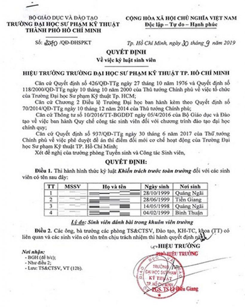Truong Dh Thi Hanh Ky Luat 4 Sinh Vien Danh Bai Trong Truong