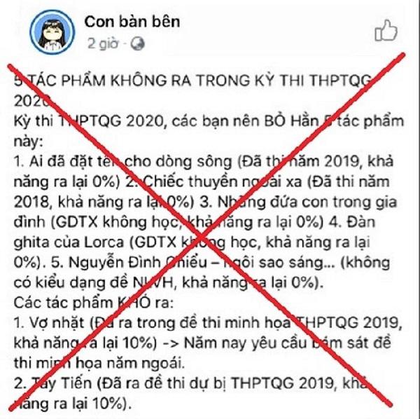 5 Tac Pham Ngu Van Khong Ra Trong De Thi Thpt Quoc Gia 2020 La Fake New